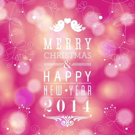 Glittery lights background - Merry Christmas and Happy New Year card design. Perfect as invitation or announcement.