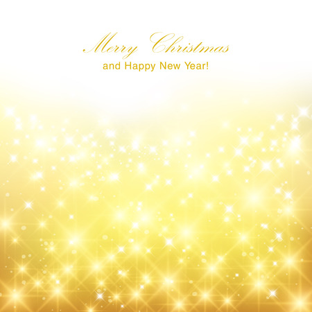 Glittery gold Christmas background with place for new year text invitation. Stock Illustratie