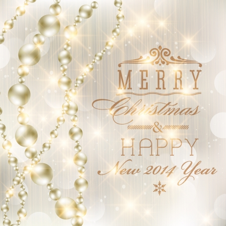 Elegant glittery Merry Christmas and Happy New Year card design. Perfect as invitation or announcement. Vector