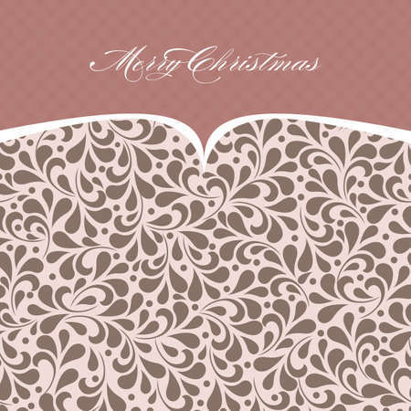 Elegant Merry Christmas and Happy New Year  invitation card with floral ornament background. Perfect as invitation or announcement. Vector