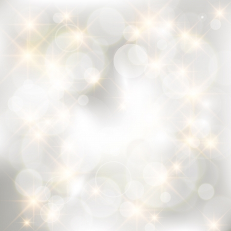 estrellas de navidad: Destellantes luces de plata abstracto fondo de Navidad. Vectores