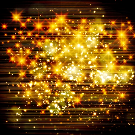 Glittery lights golden abstract Christmas background.