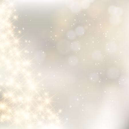 solemn: Destellantes luces de plata abstracto fondo de Navidad. Vectores