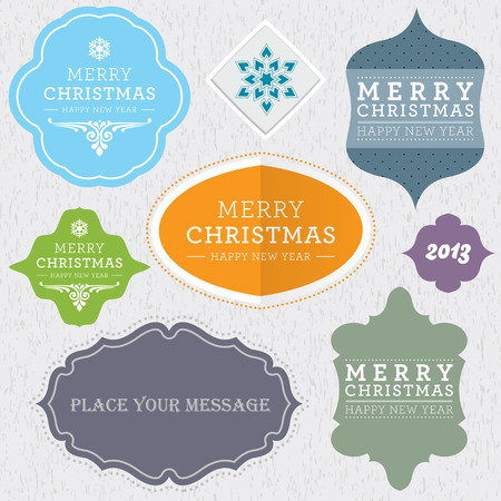 Set of Christmas vintage labels.  Vector