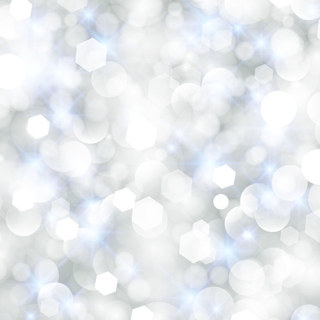baubles: Glittery lights silver abstract Christmas background. Illustration