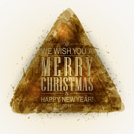 Triangle shape strokes brush and ink. Merry Christmas and Happy New Year background. Vector