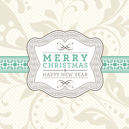 Christmas invitation card in an old-style beige. Vector