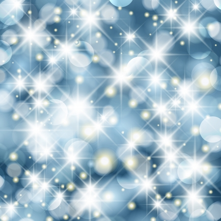 Glittery lights blue abstract Christmas background.