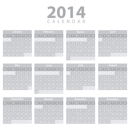 Calendar 2014 - template design. Vector