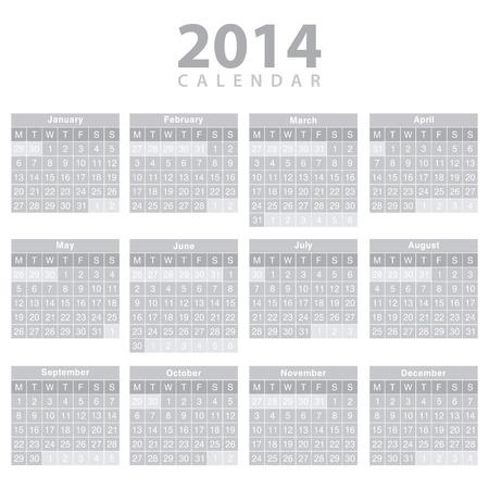 Calendario 2014 - diseño de la plantilla. Foto de archivo - 23979898