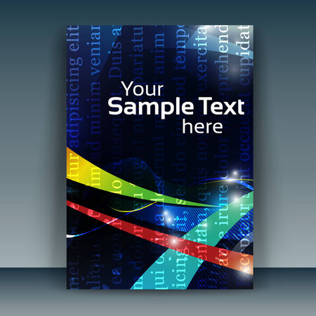 multiple image: Flyer or cover design business. Illustration of futuristic abstract glowing smooth waves background, resembling motion blurred neon light curves. Illustration