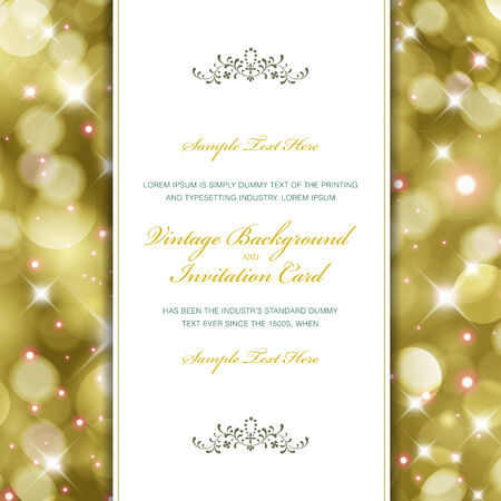 Amazing glittering background with white vintage label. Perfect as invitation or announcement. For vector version, see my portfolio.  Illustration