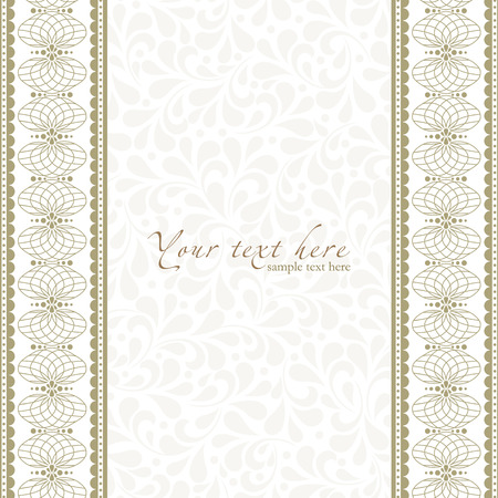 Detailed antique flowers template frame, design for vintage invitation card.  Vector
