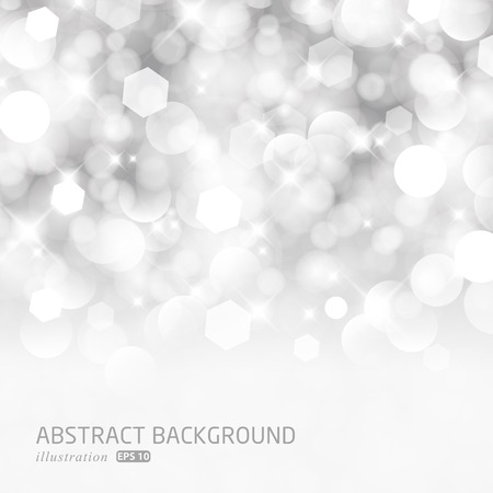 Glittery lights silver abstract Christmas background. Perfect as invitation or announcement.  Illustration