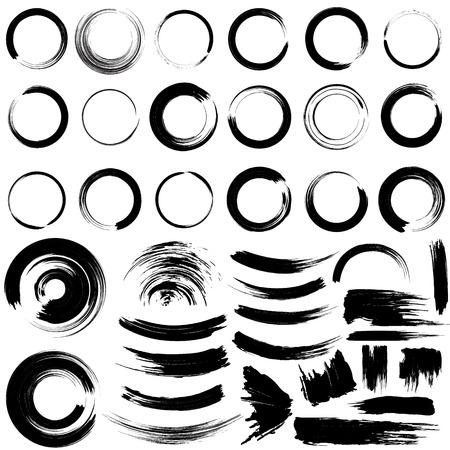 Set van grungecirkel penseelstreken.