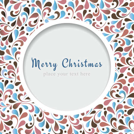 Christmas card with floral ornament design. Vector