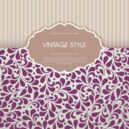 Vintage card with floral ornament design.  Stock Illustratie