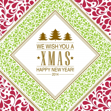 Christmas card or invitation with floral ornament background. Perfect as invitation or announcement. Illustration