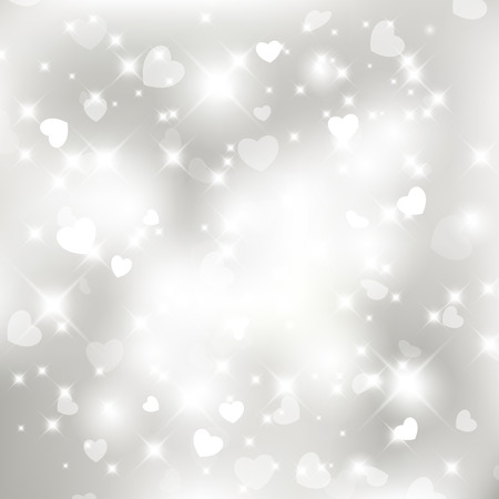valentine background: Glittery lights silver Valentines day background from hearts. For vector version, see my portfolio.