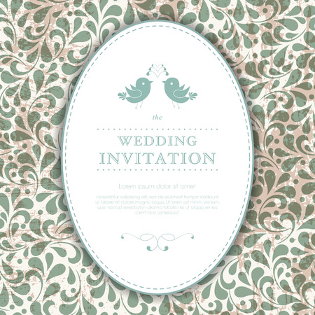 Wedding card or invitation with abstract floral ornament background. Perfect as invitation or announcement.  Vector