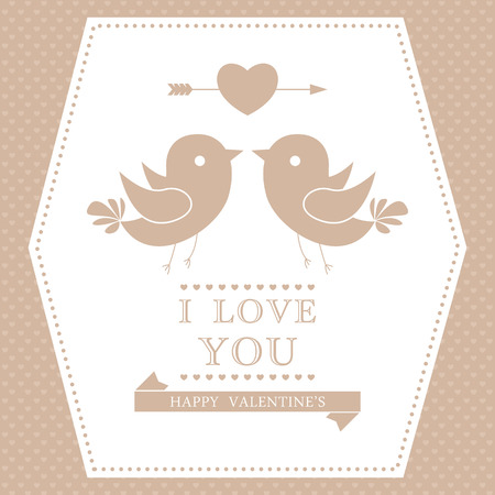 Happy Valentine's day invitation card. I Love You.  Vector