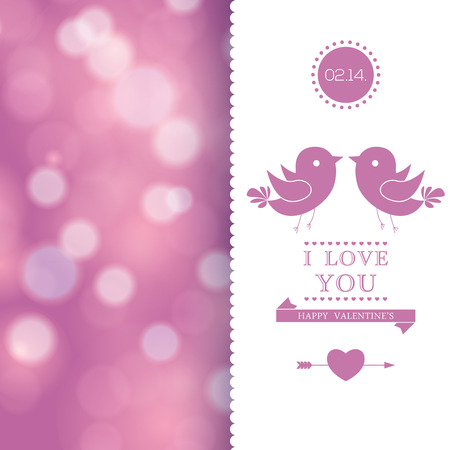 Happy Valentines Day invitation card. I Love You. Vector