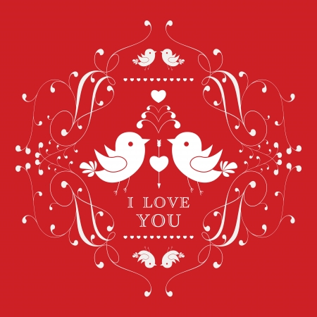 Happy Valentine's Day invitation card with floral ornament label. I Love You. Perfect as invitation or announcement. Vector