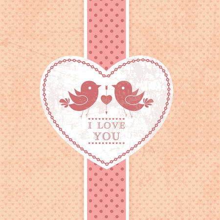 Wedding invitation card, scrapbook background. I Love You. Perfect as invitation or announcement. Vector