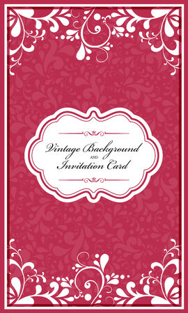 Romantic styled card with floral ornament illustration background