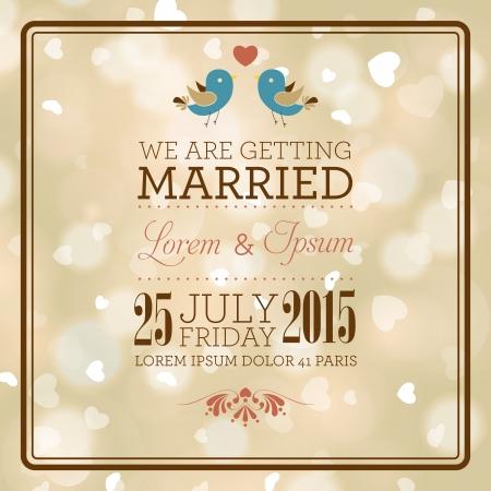 bröllop: Bröllop inbjudningskort. Jag älskar dig. Perfekt som inbjudan eller meddelande. Illustration