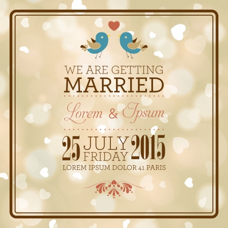 Wedding invitation card. I Love You. Perfect as invitation or announcement.
