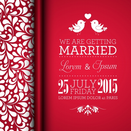 Wedding invitation card with floral ornament background. I Love You. Perfect as invitation or announcement. Vector