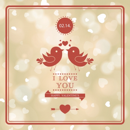 Happy Valentines Day card design. I Love You. Blurred soft background. Vector