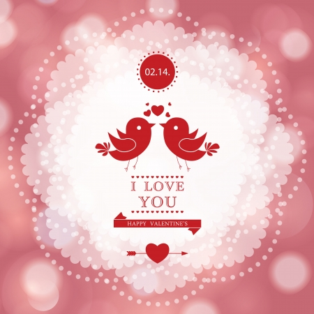 Happy Valentine's Day card design. I Love You.