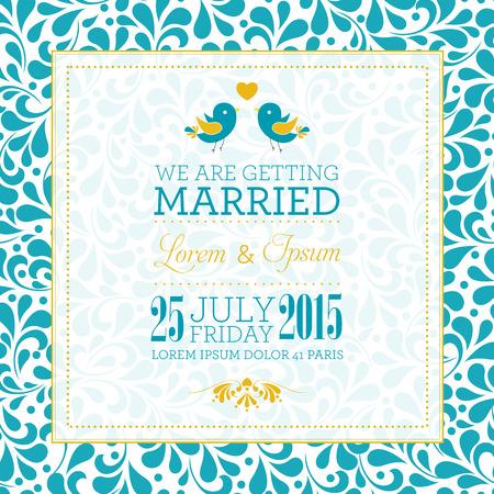 bröllop: Bröllop inbjudningskort med blommig prydnad bakgrund. Jag älskar dig. Perfekt som inbjudan eller meddelande.