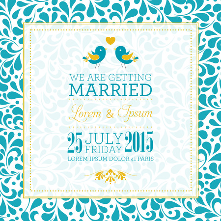 bröllop: Br�llop inbjudningskort med blommig prydnad bakgrund. Jag �lskar dig. Perfekt som inbjudan eller meddelande. Illustration