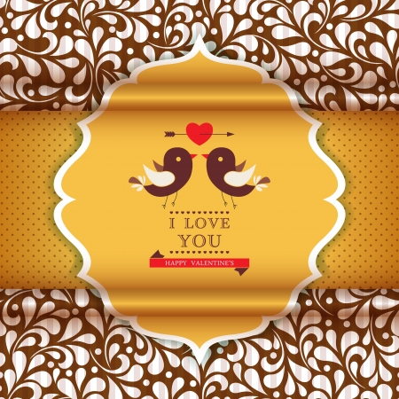 Happy Valentine's Day invitation card with floral ornament background. I Love You. Perfect as invitation or announcement. Vector