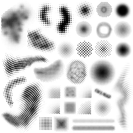 halftone dots: Collection set of different abstract halftone art elements Illustration