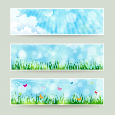 Set of beautiful summer themed soft bokeh nature banner illustrations. Vector