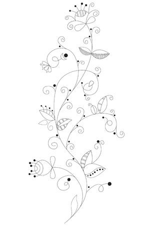 Vintage decorative hand-drawing flower element.  Illustration