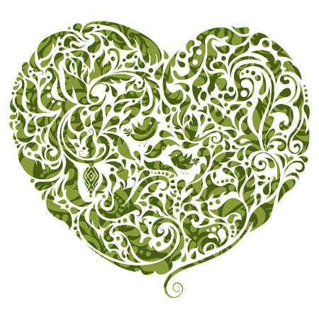 Abstract floral heart icon. Creative St Patrick's day design element.  Vector