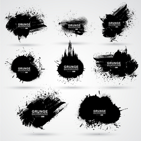 sumi: Set of grunge banner. Illustration
