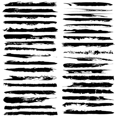pictured: Set of grunge brush strokes.