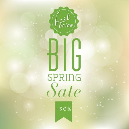 Spring sale poster with glittery lights silver elegant background. Stock Illustratie