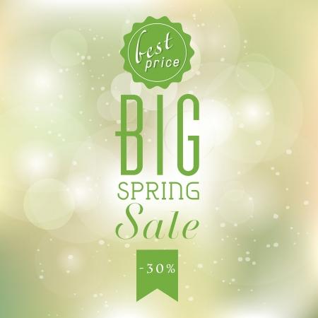 Spring sale poster met glinsterende lichten zilveren elegante achtergrond. Stockfoto - 25250331
