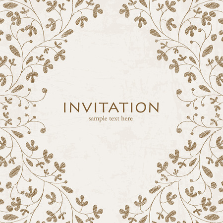 Wedding styled card with floral ornament design. Perfect as invitation or announcement.