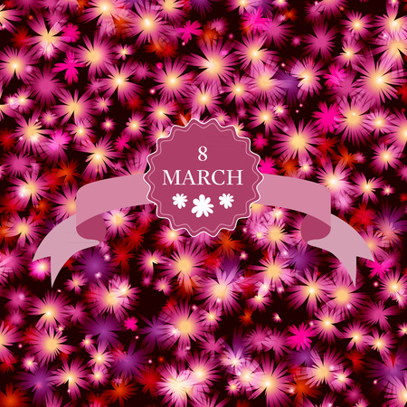 Happy Womens Day card with floral background. Vector