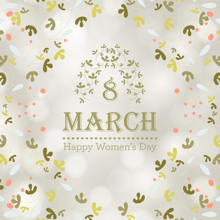 Happy Women's Day greeting card with floral decorated text 8 March. Vector