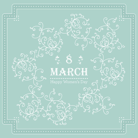 Happy Womens Day greeting card with floral decorated text 8 March. Vector