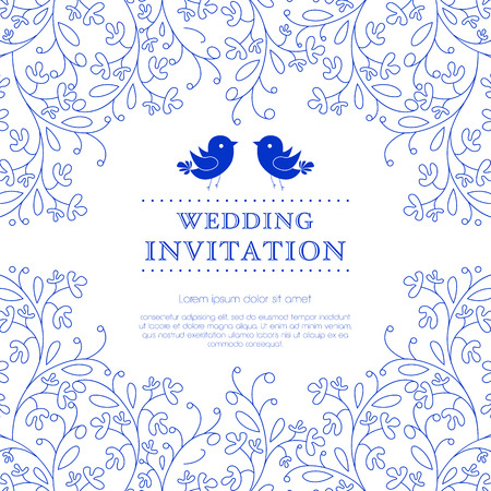 結婚式のカードや花飾り背景の招待状。招待状や発表として最適です。  イラスト・ベクター素材